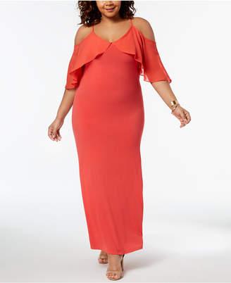 NY Collection Plus & Petite Plus Size Cold-Shoulder Maxi Dress