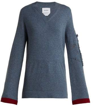 Barrie - Bright Side V Neck Cashmere Sweater - Womens - Blue Multi
