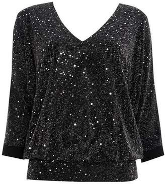Wallis Silver Embellished Cold Shoulder Top