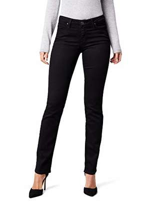Lee Women's Marion Straight Jeans, (Black Rinse), W28/L35 (Size:28/35)