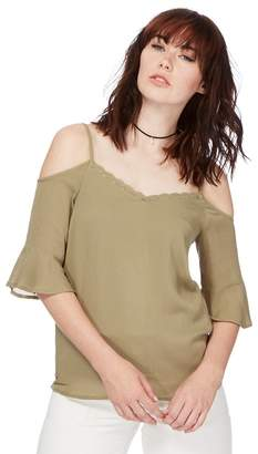 Noisy May Khaki 'Alberte' Cold Shoulder Top