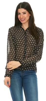 Brio LADIES WEAR Women's Collared Button down long sleeve top (Black/Multi color, Large)