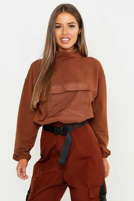 boohoo Petite High Neck Pocket Front Sweat Top