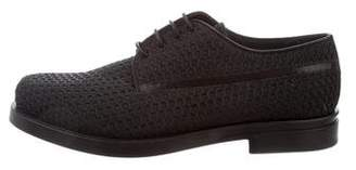 Calvin Klein Collection Leather-Trimmed Round-Toe Derby Shoes
