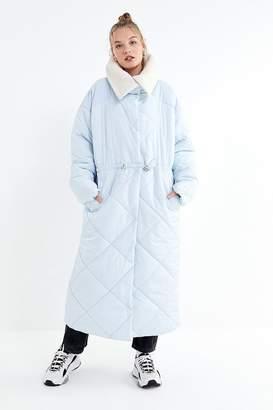 Urban Outfitters Longline Sherpa Trim Puffer Coat