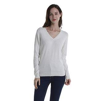 Women Basic Solid 100% Cotton Soft V-Neck Long Sleeve Knitted Pullover Sweater