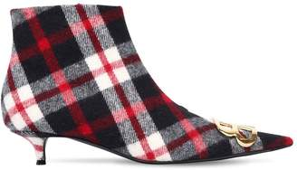 Balenciaga 40mm Bb Checked Flannel Ankle Boots