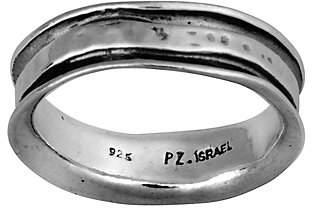 Or Paz Sterling Silver Men's Slightly HammeredBand Ring