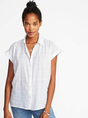 Old Navy Relaxed Dobby-Windowpane Button-Front Top for Women