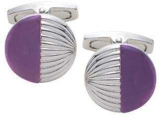 Square Mile Round Purple Cats Eye Cufflinks