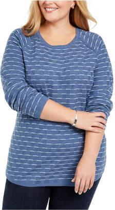 Karen Scott Plus Size Textured Striped Cotton Top