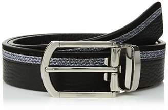 Bugatchi Men's Three Tone Full Grain Leather with Printed Suede Belt
