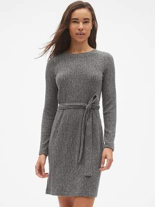 Gap Softspun Ribbed Long Sleeve Tie-Waist Dress