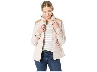 Lauren Ralph Lauren Quilted Barn Jacket with Faux Leather Trim