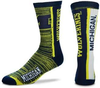 For Bare Feet Adult Michigan Wolverines Bar Stripe Crew Socks