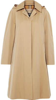 Burberry Oversized Hooded Cotton-gabardine Trench Coat - Beige