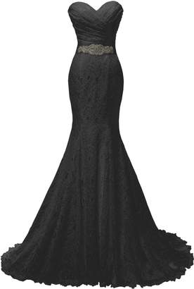 Solovedress Women's Lace Wedding Dress Mermaid Evening Dress Bridal Gown with Sash (US,)