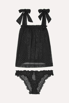 Le Petit Trou - Lou Ruffled Metallic Fil Coupé Tulle Pajama Set - Black