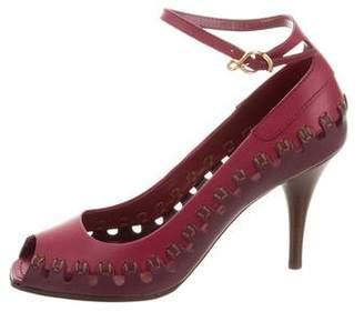 Louis Vuitton Leather Peep-Toe Pumps