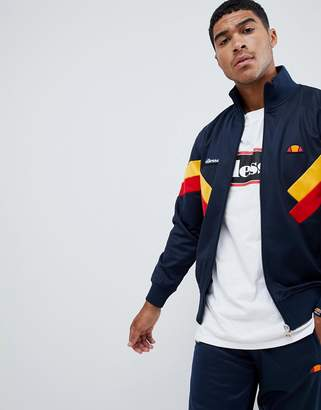 Ellesse Chierroni chevron panel track jacket in navy