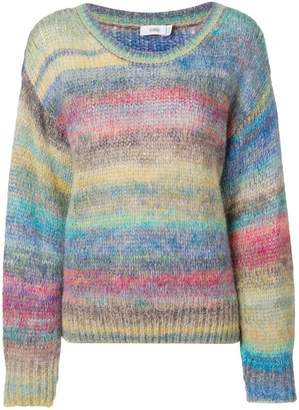 Closed striped knitted sweater