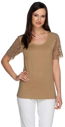 Liz Claiborne New York Short Sleeve Lace Sleeve T-shirt