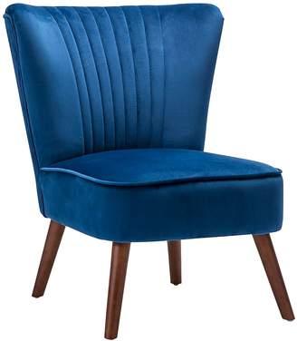 Warehouse Eastern Tactile Textures Velvet Slipper Accent Chair, Midnight Blue