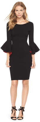 Milly CONTRAST DRAPED SLEEVE SHEATH