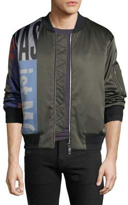 MCM Men's Contrast-Sleeve Satin Bomber Jacket
