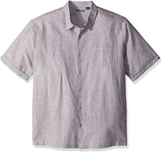 Cubavera Men's Short Sleeve Linen-Blend Textured Button-Down Shirt with Pocket
