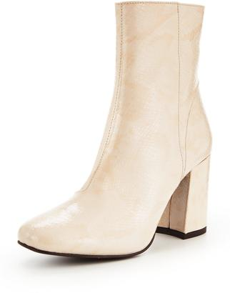 Very High Leather Ankle Boot - Nude