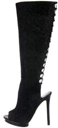 Brian Atwood Textured Suede Peep-Toe Boots
