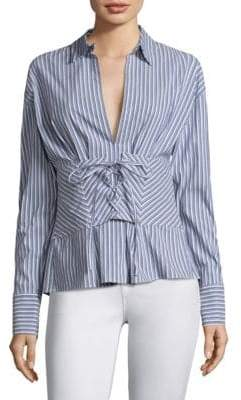 Robert Rodriguez Lace-Up Striped Shirt