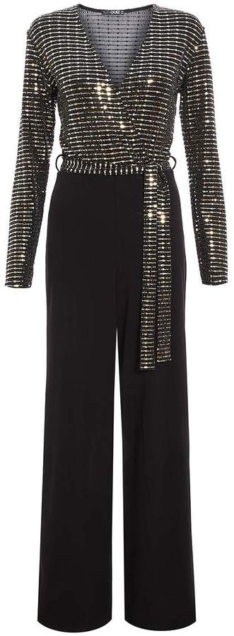 TOWIE Black and Gold V Neck Jumpsuit