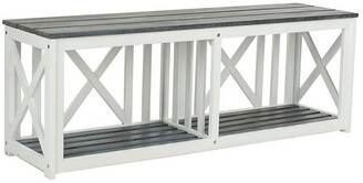 One Kings Lane Brewer Bench - White/Gray