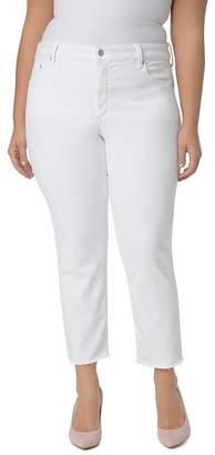NYDJ Plus Sheri Slim Frayed Ankle Jeans in Optic White