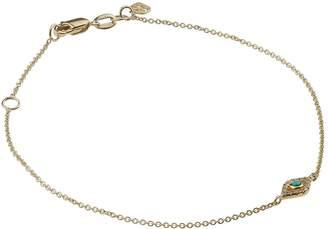 Sydney Evan Yellow Gold, Diamond and Turquoise Bezel Evil Eye Bracelet