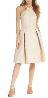 Gal Meets Glam Evelyn Sea Holly Jacquard Halter Dress