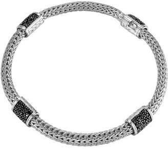 John Hardy Classic Chain 4-Station Black Sapphire Bracelet