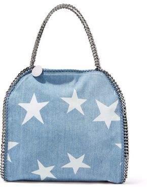 Stella McCartney Faux Suede-Trimmed Printed Denim Shoulder Bag