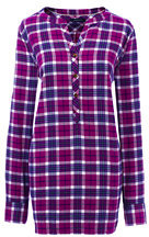 Lands' End Women's Tall Long Sleeve Flannel Tunic Top-Fresh Cream Multi Plaid $69 thestylecure.com