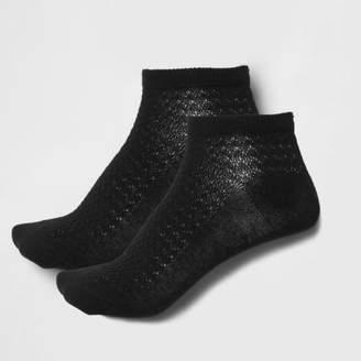 River Island Womens Black textured sneaker socks multipack