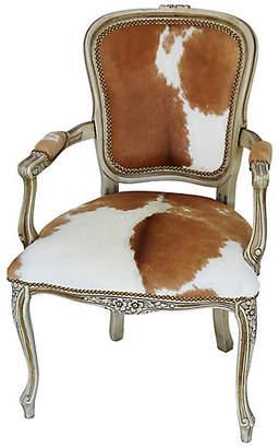 One Kings Lane Vintage Carved Armchair W/ Brown & White Cowhide