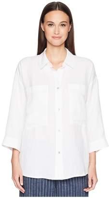 Eileen Fisher Organic Cotton Linen Tencel Crepe Boxy Shirt Women's Long Sleeve Button Up