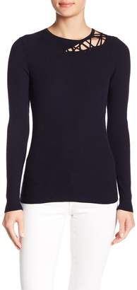 Minnie Rose Ribbed Shoulder Lace-Up Sweater