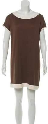 St. John Bateau Neck Mini Dress cream Bateau Neck Mini Dress