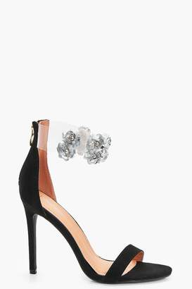 boohoo Embellished Clear Ankle Band 2 Part Heels