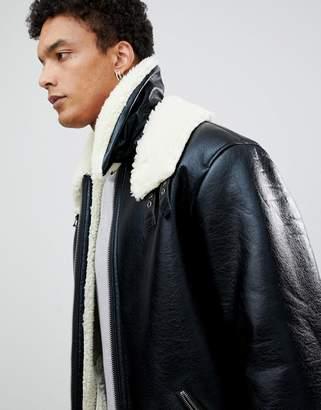 Asos Oversized Faux Shearling Jacket In Black