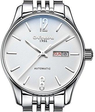 Carnival カーニバルメンズサファイア自動機械カレンダー時計シルバーステンレススチール防水ホワイト腕時計