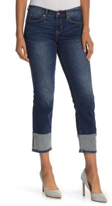 Nicole Miller Topstitched Cuff Straight Leg Jeans